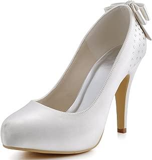 EP11034-IP Women Pumps Closed Toe High Heel Platform Bows Rhinestones Evening Wedding Shoes