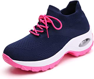 Ezkrwxn Women Athletic Walking Shoes Sock Fashion Sneakers Breathable Comfort Slip on Sports Trail Running Shoes Navy Blue Rose Red Size 5 (1862-blue rosered-35)