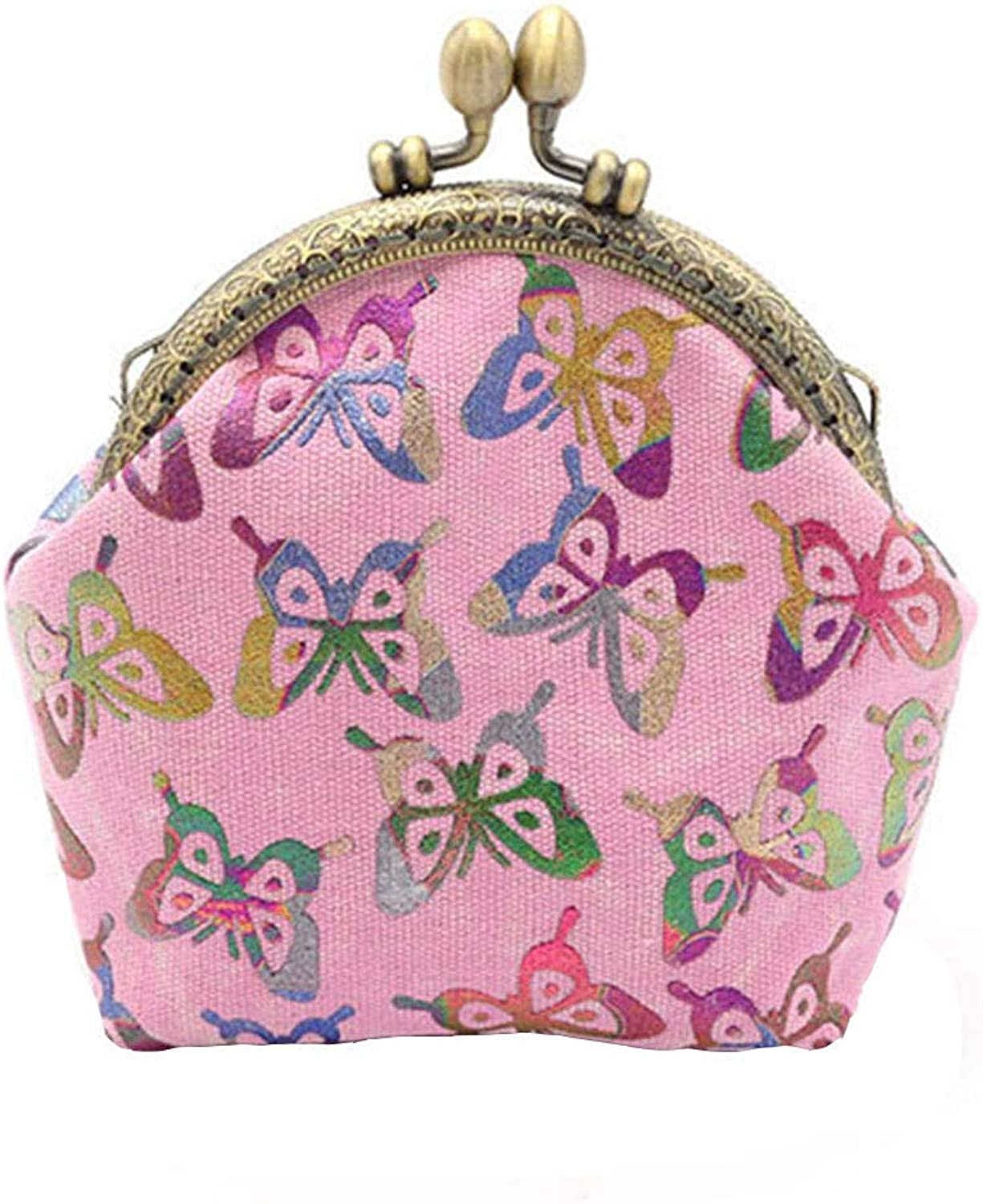 New fashion ladies wallet Lady Vintage Butterfly Mini Hasp Coin Purse Wallet Clutch Bag (color   272, Size   Pink)