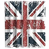 Vintage British Country Patriotic Union Jack Theme Cloth Fabric Shower Curtain Sets Bathroom Decor with Hooks Waterproof Washable 72 x 72 inches Red Blue and White