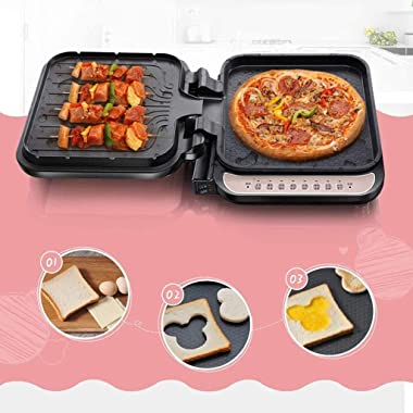 SMLZV Electric Griddle,180 Degrees Electric Griddle Skillet Double Baking Pan Non-Stick Pizza Maker Electric Grill Cookware E