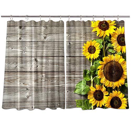 NYMB Cortinas de madera para ventana de cocina, diseño de girasol sobre flores de otoño en paneles de madera rústica, decoración de cocina, cortinas de ventana, conjuntos de tratamiento de ventanas de granja con ganchos, 132 x 91 cm