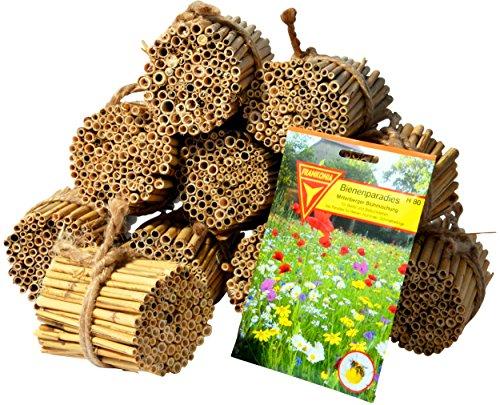 Luxus-Insektenhotels Schilfrohrhalme-Set 1000 STK. inkl. Wildblumensamen, 22690e