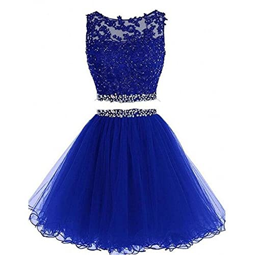 5ae4aaed80 Dydsz Women s Prom Dress Short Homecoming Party Dresses 2 Piece Beaded  Cocktail Gown D127