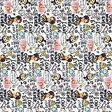 Kt KILOtela Tela popelín Estampada Digital - 100% algodón - Retal de 100 cm Largo x 150 cm Ancho | Minions Family - Multicolor, Blanco ─ 1 Metro