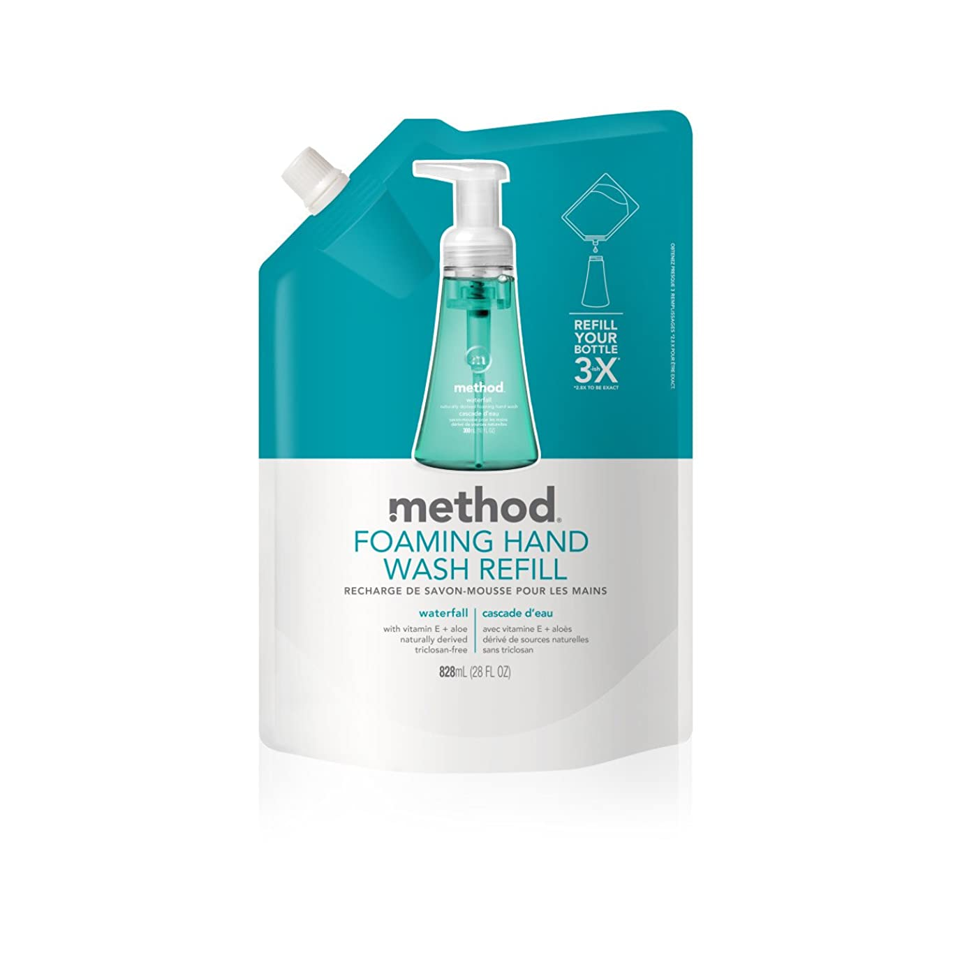 定義するスラダム血色の良いMethod, Foaming Hand Wash Refill, Waterfall, 28 fl oz (828 ml)