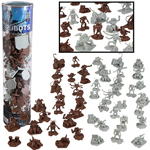 Robot Fantasy Sci-fi Action Figures - 52 Futuristic Space Battle Toys - with 14 Unique Characters - Great for Party Favors, Role Playing Games, Shadowrun, etc