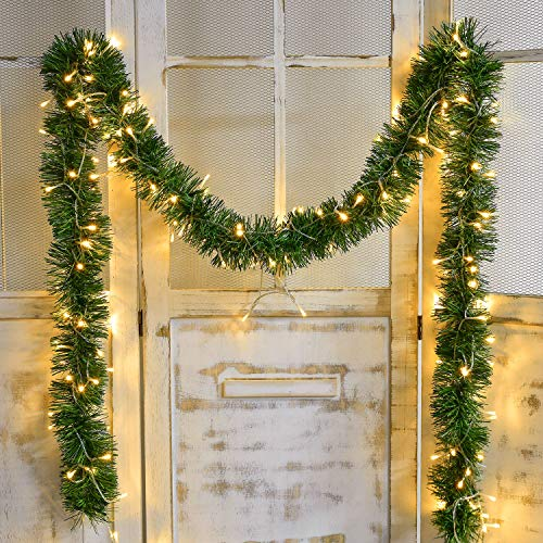Lvydec 16.4ft Artificial Christmas Garland Decoration, Lighted Pine Garland Soft Greenery Garland with 40 LED String Lights for Holiday Party Decoration, Outdoor/Indoor Use