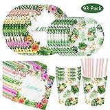 93Pcs Flamingo Vaisselle de Table Vert Rose - Assiette Carton Serviette en Papier Gobelet Paille pour Thème Flamant Baptême Hawaiian Tropicale Fournitures Fête d'été Party Anniversaire Fille Garçon