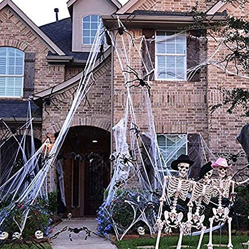 Hrpa 300 g de telarañas de Halloween, decoración para fiestas de Halloween y 100 piezas de arañas, decoración para el hogar brujado, suficiente para cubrir 1000 pies cuadrados (300 g de telaraña + 100