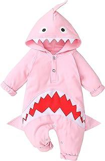Haokaini Baby Langarm Strampler Hoodie Overall Hai Strampler Overall Strampler Bodysuit für Jungen Jungen Mädchen