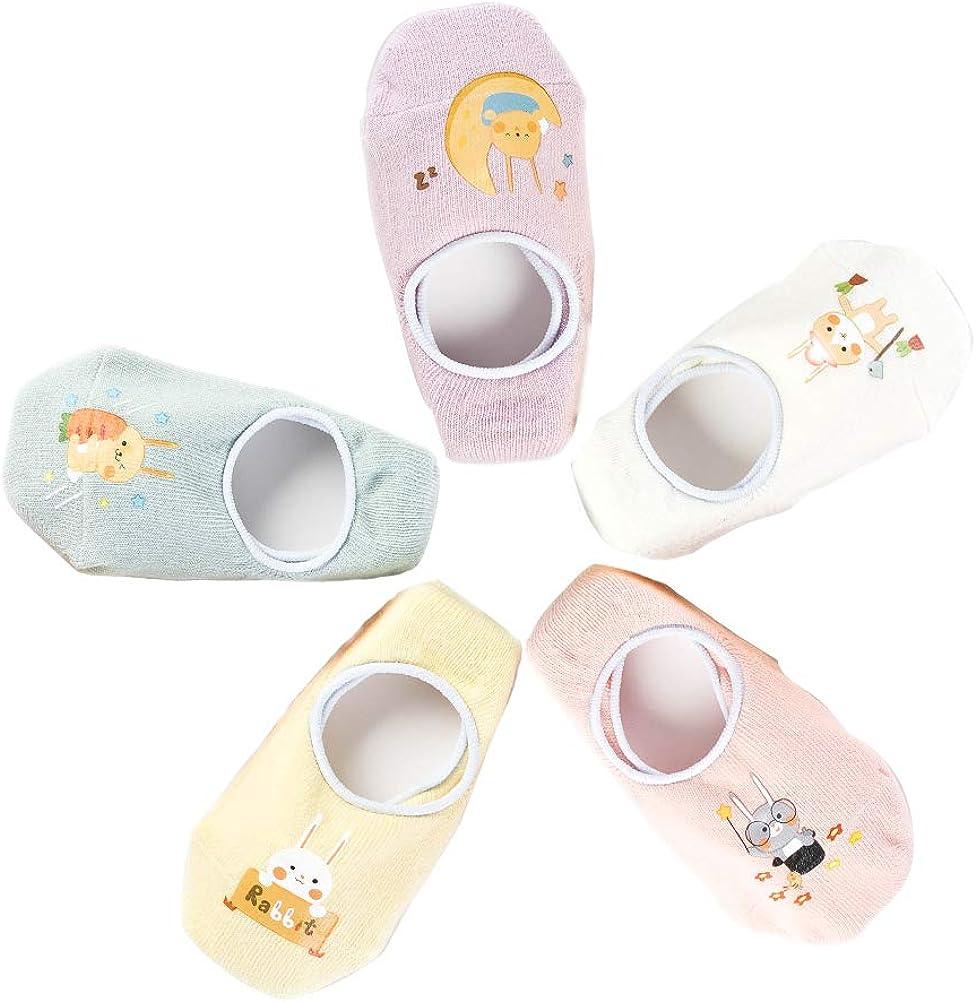 5 Pairs Toddler Girl Socks 3T Non Skid Baby Cute Cartoon Floor Slipper Socks