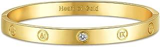 GuqiGuli 14k Yellow/Rose/White Gold Plated Fashion Idiom Hinged Bangle Bracelets for Women and Girls, 7