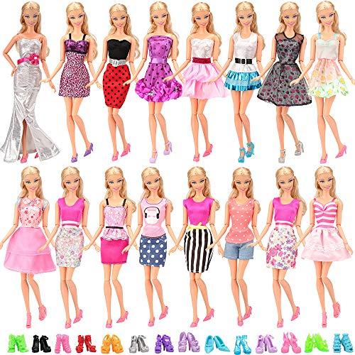 Miunana 15 Stück = 5 Fashion Kleider Kleidung + 10 Paar Schuhe Ohne doll für 11,5 Zoll Mädchen Puppen Kindertag Geschenk