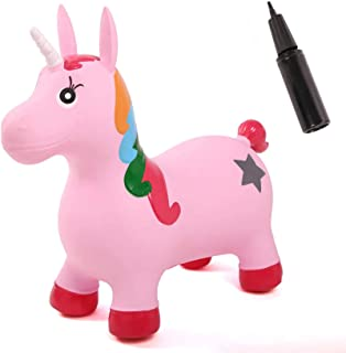 Spiekind Inflatable Unicorn Bouncer Space Hopper, Pump Included, Ride-on Bouncy Animal Jumping Outdoor Toys to Play (Pink ...