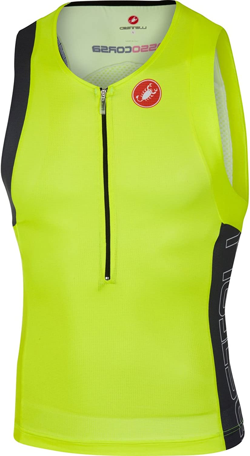 Castelli Men's Free Tri Top (Yellow Fluo Anthracite Large)