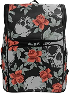 Skull Grunge mochila escolar humana impermeable bolsa de hombro gimnasio mochila mochila bolsa de hombro negro rojo flor portátil bolsa de viaje al aire libre para mujeres hombres