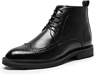 Sunny&Baby Ankle Brogue Boots for Men High Top Dress Oxfords Lace up PU Leather Round Toe Anti-Skid Burnished Style Wear Resisting Side Zipper Durable (Color : Black, Size : 8 UK)