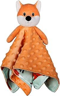 BORITAR Fox Baby Security Blanket Soft Minky Dot Fabric Lovey Blanket with Brown Fox Pattern Backing, Stuffed Plush Cuddle Newborn Blankie 14 Inch