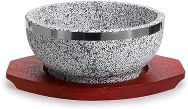 وعاء دولسوت بيمبيمب من إم دي إل يو مع قاعدة خشبية، وعاء من حجر الجرانيت للشوربة الكورية والأرز والخروجات