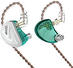 KZ-AS12 in-Ear Monitors, 12BA(6BA on Each Side) HiFi Stereo Noise Isolating IEM Earphones/Earbuds/Headphones with Detachable Cable Universal-Fit Wired Sports 0.75mm 2PIN (Without MIC, Cyan)