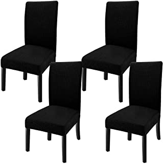 Best GoodtoU Dining Room Chair Covers Stretch Parsons Dining Chair Slipovers (Set of 4, Black) Review