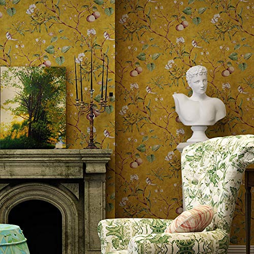UVKLAEE Tapete mit Blumen- und Vogelmotiv, Vintage-Stil, Apfelbaum-Wandtapete, Rolle, grün-gelb, Wandtapete, Ölgemälde (Farbe: Gelb, Größe: 0,53 x 10 m)