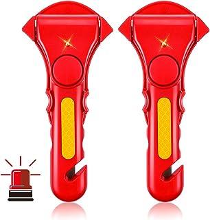MATCC 緊急脱出ハンマー 防災グッズ 警報装置 アラーム装置付き 車用家用 レスキューハンマー 安全ハンマー シートベルトカッター 緊急ツール 夜光加工 2個セット