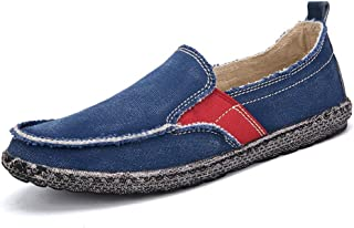 XinQuan Wang Driving Loafer for Men Boat Moccasins Slip On Style Washed Canvas Personality Splicing Leisure Breathable Round Toe (Color : Blue, Size : 7.5 UK)