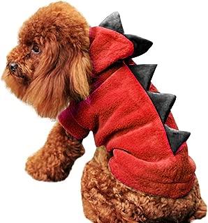 MEANIT Halloween Small Dog Cat Dinosaur Costume Jacket Coat Warm Fleece Winter Teddy Dog Clothes Hoodie