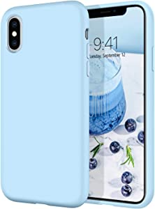 iPhone XS Case, iPhone X Case DOMAVER Slim Lightweight Smooth Liquid Silicone Soft Gel Rubber Microfiber Lining Cushion Texture Cover Shockproof Protective Phone Cases for iPhone XS/X 5.8
