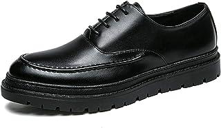 Zapatos casuales Zapatos de Oxford de los Hombres, tela de elevación de tacón alto invisible Zapatos de cuero negro de cor...
