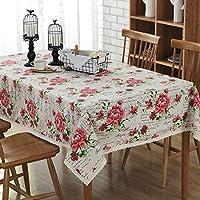 古典的な綿とリネンのバラ印刷コーヒーテーブルクロス キッチン用品 (Color : Rose print, Size : 140*180CM)