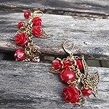 Boucles d'oreilles cascade de roses rouges