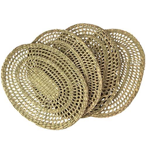 Made Terra Juego de 4 manteles individuales de tejido para mesa de comedor, alfombra trenzada natural,hecha a mano,de mimbre de junco marítimo, resistente al calor,con almohadilla antideslizante,Oval