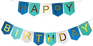 Brcohco Happy Birthday Banner Bunting with Shiny Gold Letters Party Supplies Blue White