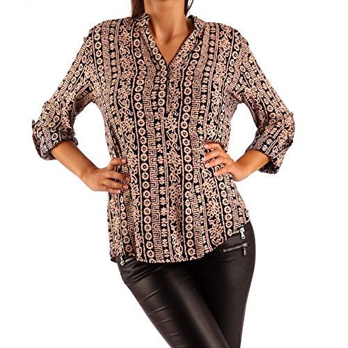 Young-Fashion Damen Bluse Tunikabluse Rundhalsausschnitt, Farbe:Puder;Größe:S/M = 34/36
