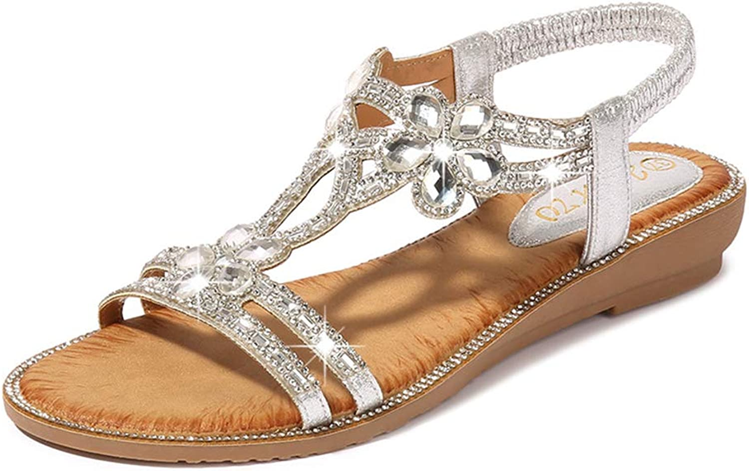 Tuoup Women's Stylish Leather Jeweled Floral Sandles Summer Sandals