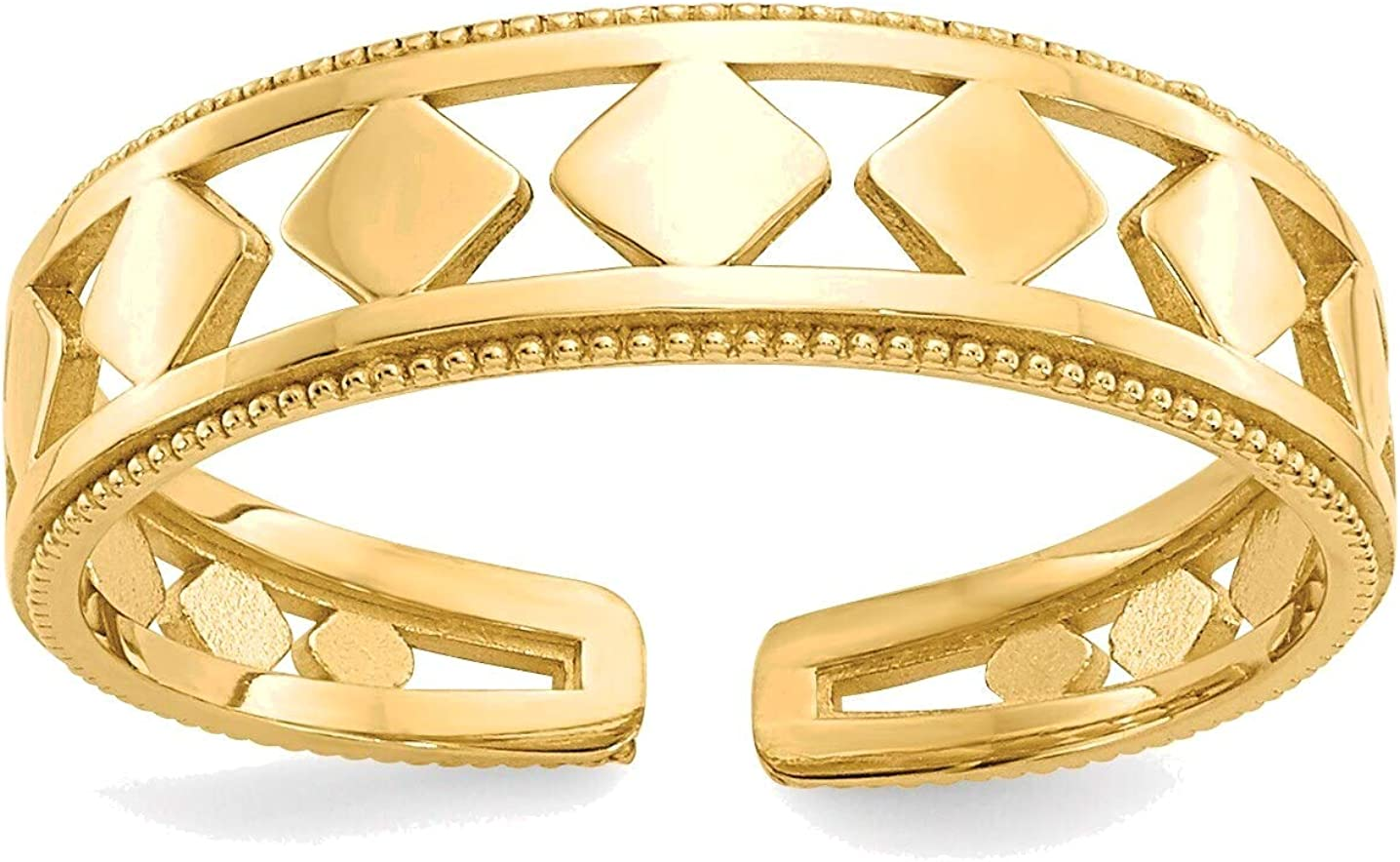 Bonyak Jewelry Diamond Shapes Toe Ring in 14K Yellow Gold in Size 11