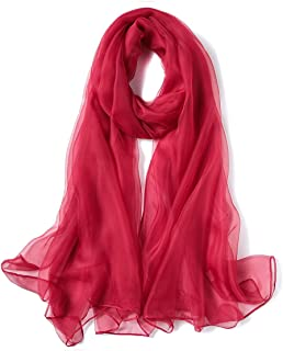K-Elewon Solid Color Silk Scarf Fashion Scarves Wrap Long Lightweight Shawls for Women