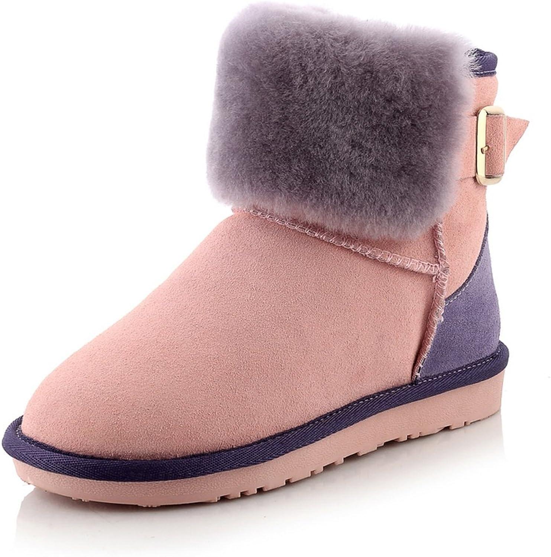 AIWEIYi Womens Winter Boots Geniune Leather Sheepskin Warm Fur Snow Boots Green