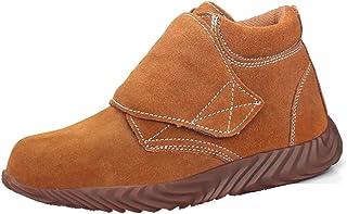 ZYFXZ Toe acier hommes Cap respirante Chaussures de travail, en daim à haute température en cuir Souder Soudeur Bottes de ...