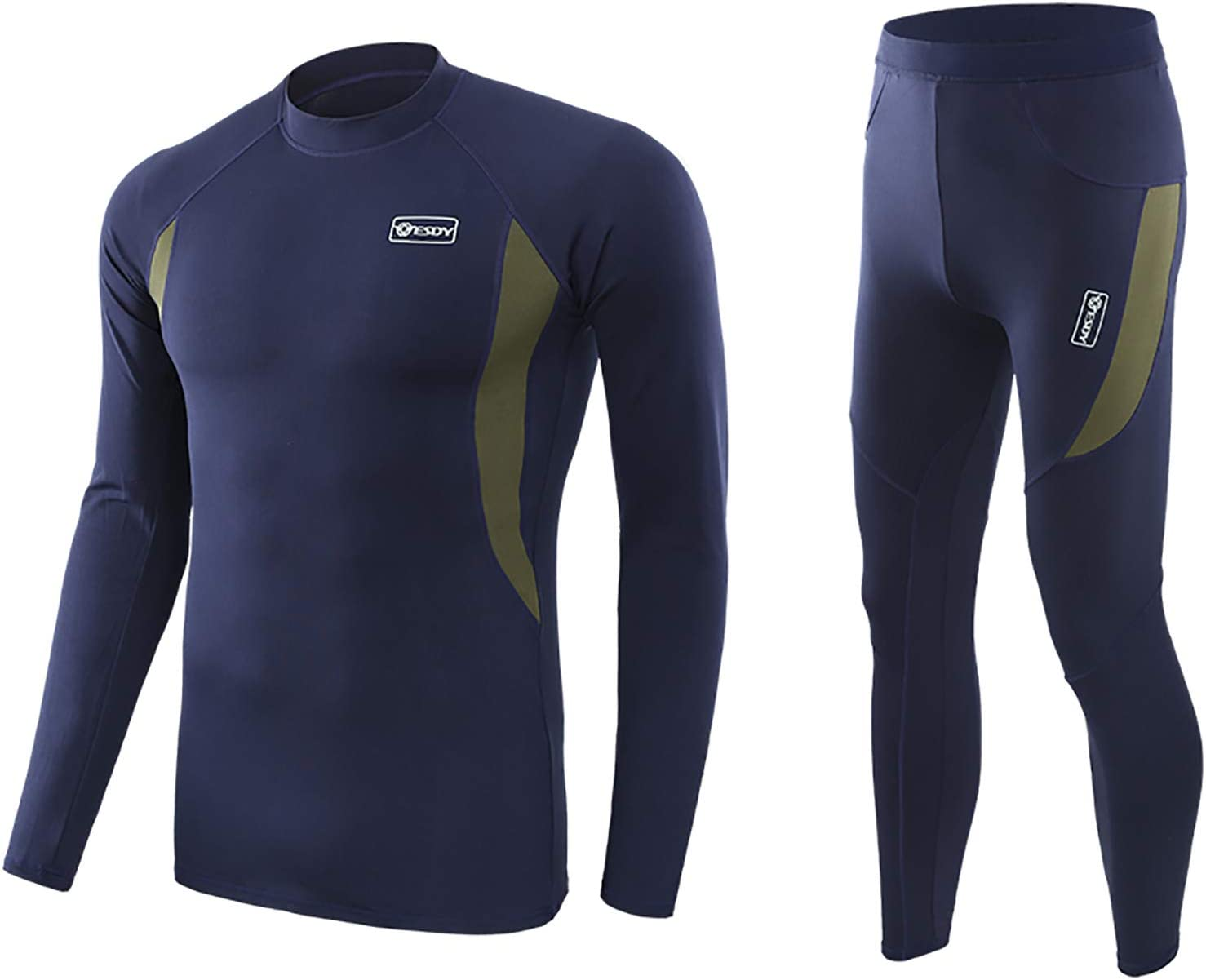 Huimingda Men's Fleece Thermal Underwear Long Johns Compression Sport Suit Winter Warm Base Layers Tops and Bottoms