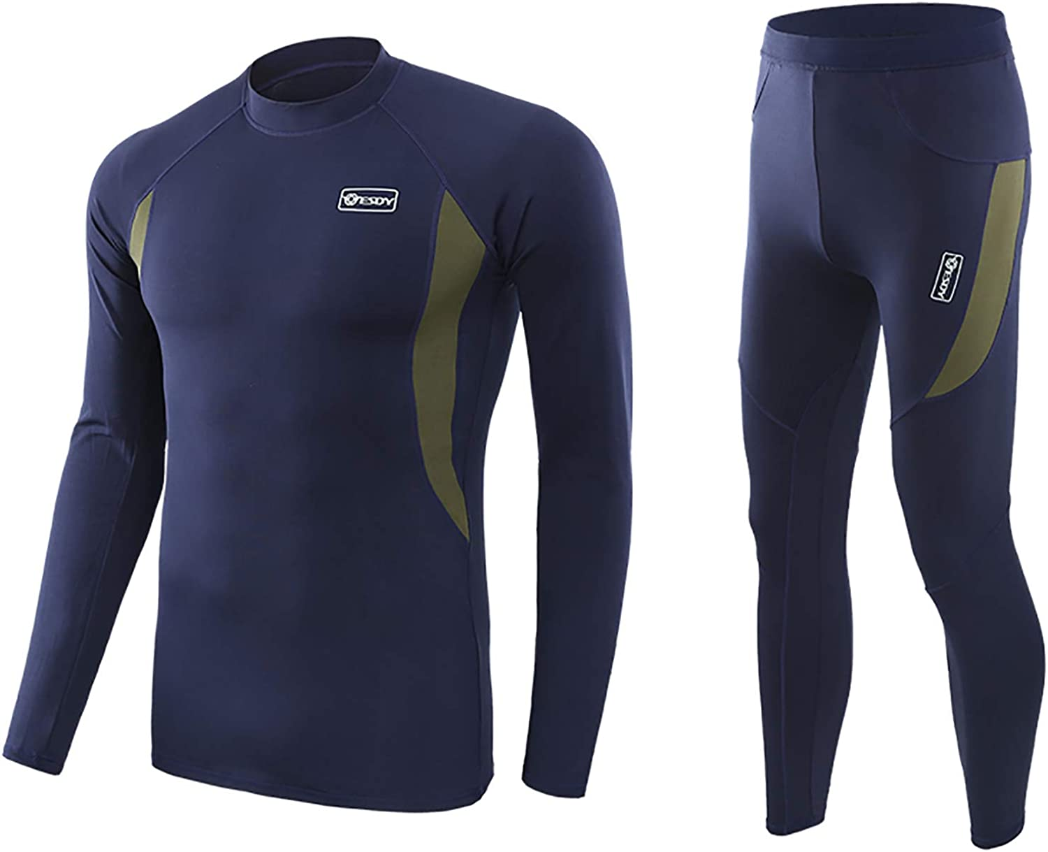 Hansber Men's Thermal Underwear Set Winter Warm Base Layers Tops and Bottoms Long Johns Compression Sport Suit