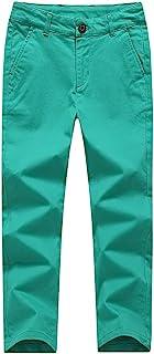 KID1234 Pantalones chinos de algodón chino, ligeros, elásticos, para niños de 4 a 14 años