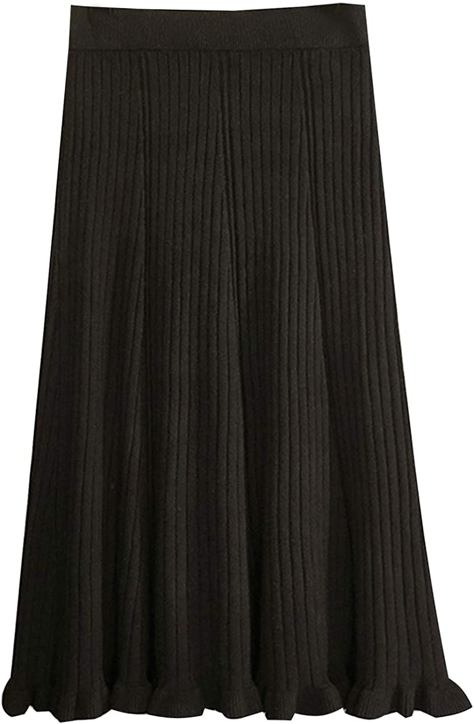 PUWEI Women's Vintage Casual Knit Ruffle A Line Pleated Midi Sweater Skirts