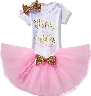 NNJXD Mädchen Neugeborene Es ist Mein 1. Geburtstag 3 Stück / 4 Stück Outfits Strampler  Rock  Stirnband  Leggings