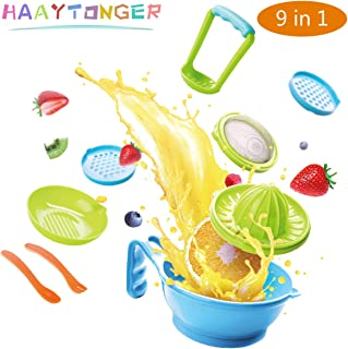 Baby Food Maker Masher 9 in 1 by Haaytonger, Portable Baby Food Feeder Processor Smasher Serve Bowl Spoon Vegetables Fruit Ricer Grinder Tools | Great for Travel, BPA-Free, Dishwasher Safe