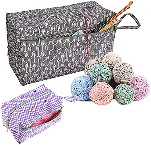 CHXIHome Yarn Storage Tote Crochet Yarn Storage Bag Organizer with Divider for Crocheting Knitting product image