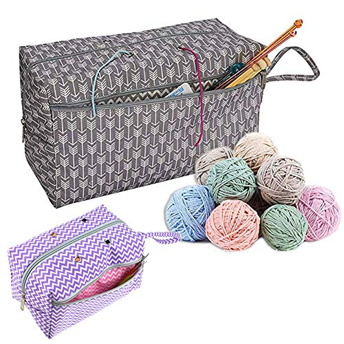 CHXIHome Yarn Storage Tote,Crochet Yarn Storage Bag Organizer with Divider for Crocheting & Knitting Supplies Portable Handmade Sewing Supplies Storage